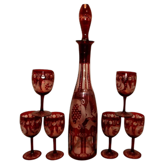 Vintage Egermann Bohemian Czech Republic Ruby Cut to Clear Decanter and Matching Cordials