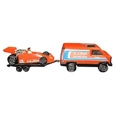 Vintage 1979 Tonka A.J. Foyt Racing Team Van and Indy Car with Trailer