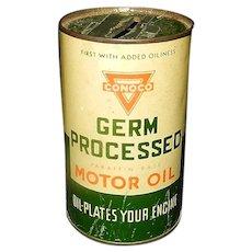 Vintage Conoco Germ Processed Motor Oil 1940's Advertising Metal Coin Bank