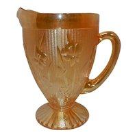 Vintage Jeannette Iridescent Carnival Glass Iris and Herringbone Pitcher