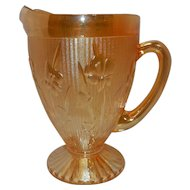 Vintage Jeannette Iridescent Carnival Glass Iris and Herringbone Pitcher