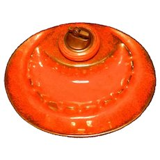 Vintage California Pottery Ceramic Ashtray Set with Lighter, Flame Orange Glaze