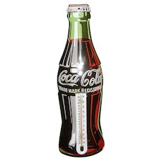 Vintage Coca-Cola Bottle Shaped 1998 Metal Thermometer