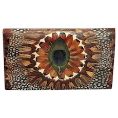 Vintage Mid-Century Peacock Feather Wallet or Clutch