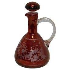 Vintage Bohemian Ruby Cut to Clear Cruet