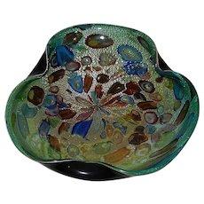 Vintage Mid-Century AVeM Murano Cased Millefiori Tutti Frutti Bowl