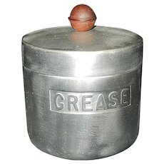 Vintage Spun Aluminum GREASE Canister Turner Specialty Mfg Houston Texas