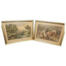 "Vintage Currier & Ives Lithographs Titled ""Maple Sugaring"" and ""Old Ford Bridge"""