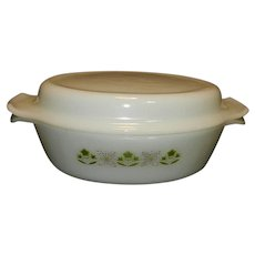 Vintage Fire King Green Meadow Oval Baking Dish with Two Handle Lid