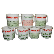 Vintage Set of Six Hazel Atlas  Milk Glass Egg Nog Mugs with Jingle Bells Song