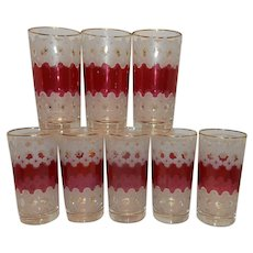 Vintage Cranberry and Snowflake Floral Tumbler Glasses