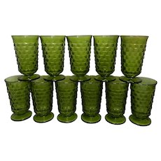 Vintage Set of 11 Colony/Indiana Glass Whitehall Pattern Iced Tea/Water Glasses in  Avocado or Olive Green
