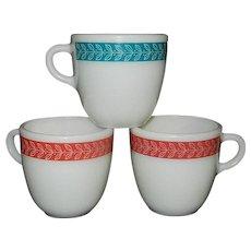 Vintage 1950's Laurel Leaf Pyrex Coffee Mugs #723-23