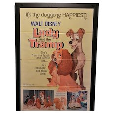 Vintage Original 1971 Re-Release Lady and the Tramp Movie Poster 41 x 27
