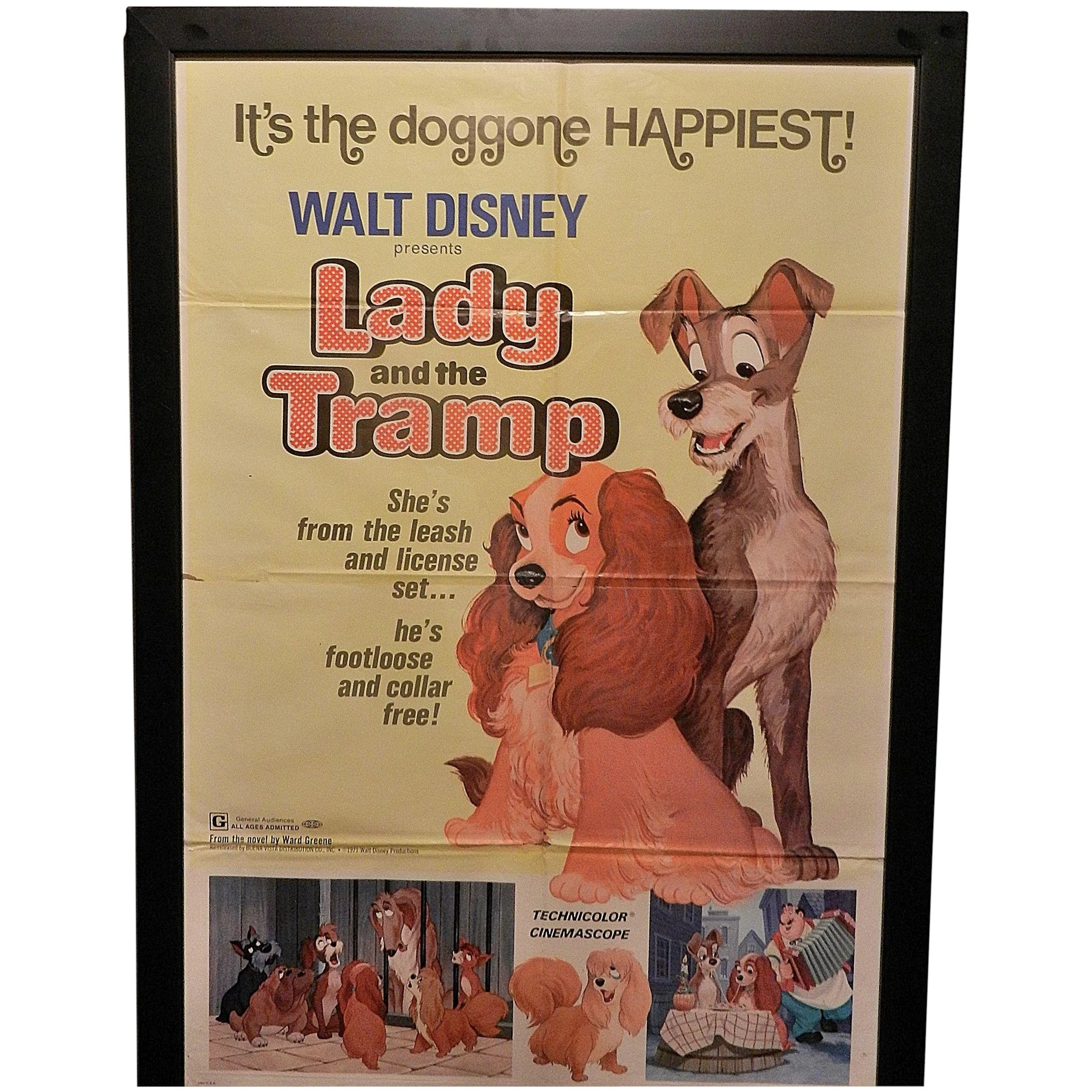 Vintage Original 1971 Re Release Lady And The Tramp Movie Poster 41 X My Grandmother Had One Ruby Lane