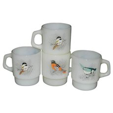 Vintage Fire King Bird Coffee Mugs