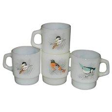 Vintage Fire King Bird Coffee Mugs