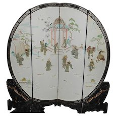 Vintage Round Oriental Room Screen with Soap Stone Carved and Hand Painted Oriental Figurines