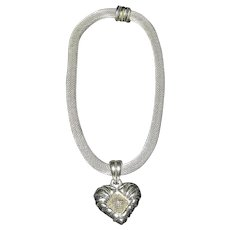 Vintage Silver Mesh Tube Choker Necklace with Heart and Snap Closure