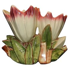 Vintage McCoy Art Pottery Vase 1953 Double Tulips Planter White with Pink Flowers