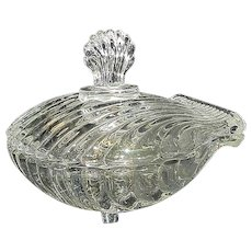 Vintage Pressed Glass Scallop Shell Candy Dish with Lid