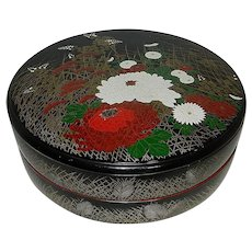 Vintage Made in Japan Hand Painted Round Black Lacquered Lidded Two Piece Treasure Box