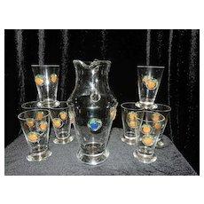 Vintage Culver Valencia Decanter Set with Wine Glasses