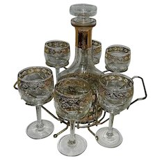 Vintage Culver Valencia Decanter Set with Wine Glasses