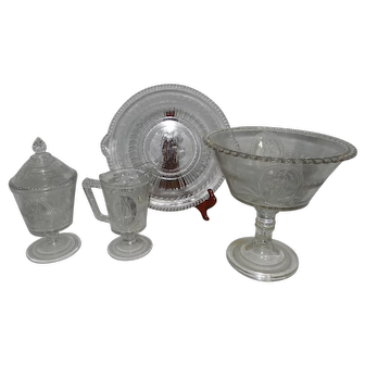 Victorian EAPG Richards & Hartley Cupid and Venus Glassware-Sugar & Creamer with Compote and Tab Handle Bread Plate
