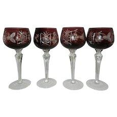 Vintage  Hortensia Poland Crystal Wine or Hocks Glasses