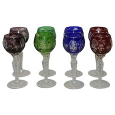 Vintage Set of 8 Nachtmann Harlequin Cut to Clear Traube Cordials