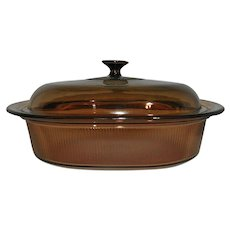 Vintage Corning Vision Ware 4L (4 qt.) Amber Covered Oval Roaster Casserole with Domed Lid