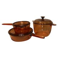 Vintage Corning Visions 6 Piece Set - 10 Inch Skillet / Deep Fryer, 1.5L Saucepan, 3.5L Round Stewpot with Lids