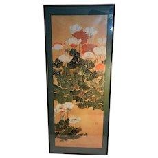 Vintage Oriental Floral Lithograph