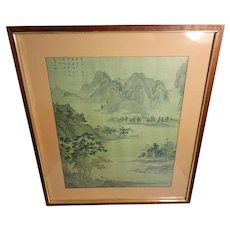 Vintage Chinese Traditional Ink on Silk Mountain Scene