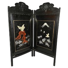 Vintage Hand Painted 3 Dimensional Black Lacquered Oriental Hanging Wall Art