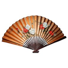 "Vintage Large Hand Painted 70"" Oriental Wall Fan"