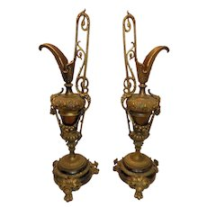 Vintage Victorian Style Spelter Ewers in Bronze Tone