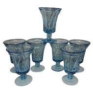 Vintage Mid-Century Fostoria Blue Jamestown Ice Tea Glasses