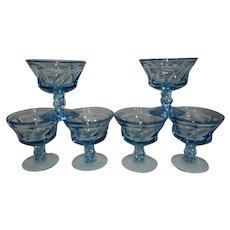 Vintage Mid-Century Fostoria Blue Jamestown Sherbet Glasses