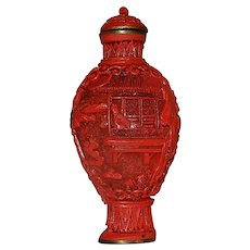 Vintage Chinese Lacquered Cinnabar Hand Crafted Snuff Bottle with Carved Lid and Spoon