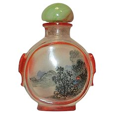 Vintage Inside Painted Oriental Snuff Bottle with Lion-Dog Head Sides
