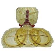 Vintage Original Federal Depression Glass Madrid Pattern Grill Plates