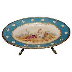 Antique Victorian Hand Painted Porcelain Plate with Ormolu Trim and Dolphin Footed Brass in Serves Style
