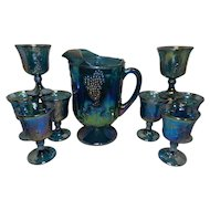 Vintage Indiana Glass Harvest Grape Blue Carnival Glass Pitcher and Goblets