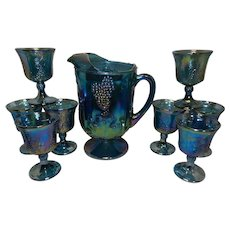 Vintage Indiana Glass Harvest Grape Blue Carnival Glass Pitcher and Goblets