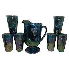 Vintage Indiana Glass Harvest Grape Blue Carnival Glass Pitcher and Tumblers
