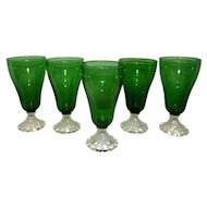 Vintage Mid Century Anchor Hocking  Forest Green Boopie Iced Tea Glasses