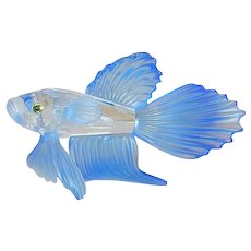 Vintage Retired Swarovski Blue Siamese Fighting Fish