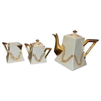 Antique D & C France Teapot and Sugar and Creamer